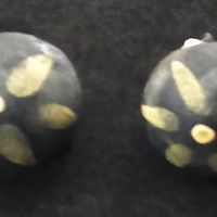 Clip on earring, black with yellow flower- Ceramic ear clips- Unique handmade jewelry- Hand painted. For non pierced ears.