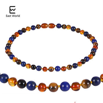 EAST WORLD Amber Teething Necklace Knotted Mix Natural Gemstone Tiger Eye Stone Lapis Lazuli Baltic Amber Jewelry for Baby Men