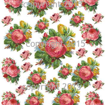 Pink Roses Collage Sheet #2 Printed Collage Sheet,  Weddings, Decoupage, Scrapbook, Altered Art, Victorian Scrap