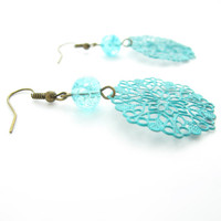 Verdigris Patina Colored Filigree Earrings
