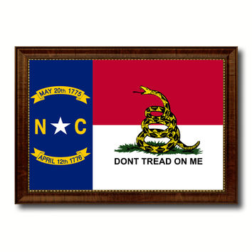 Gadsden Don't Tread On Me North Carolina State Military Flag Canvas Print with Brown Picture Frame Home Decor Wall Art Gift Ideas
