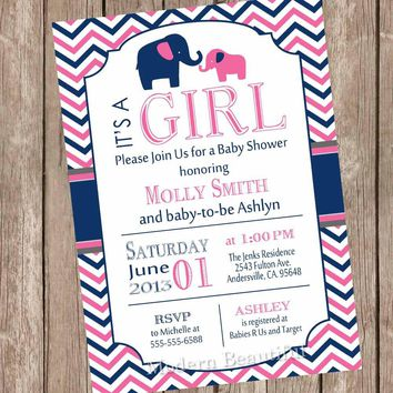Girl Elephant Baby Shower Invitation, hot pink and navy baby shower invitation, chevron invitation, hot pink, navy, elephant, printable  PNE