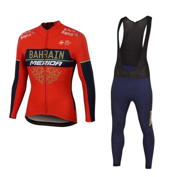 all teams! spring autumn 2018 pro team bahrain cycling jersey sets long sleeve Ropa Ciclismo quick-dry MTB bike clothing GEL pad