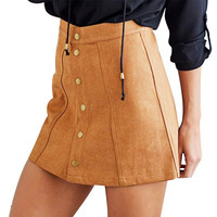 Stylish Cowboy Women Sexy Skirts Faux Suede A-Line  Button Mini High Waist Skirts