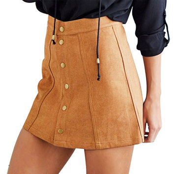 Women Skirt Suede Faux-Line Vintage High Waist Short Button Bodycon Mini Feminine Skirts LY5 SM6