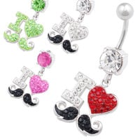 I Love Crystal Dangle Belly Ring [Gauge: 14G - 1.6mm / Length: 10mm] 316L Surgical Steel & Crystal For Girls  (Various Crystal Colors)