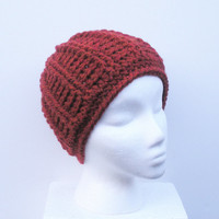 Super Chunky Crochet Beanie Hat in Burnt Orange Rust, unisex wool blend hat, ready to ship.