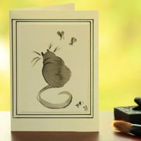 Kitty and butterflies brush painting sumi ink blank card