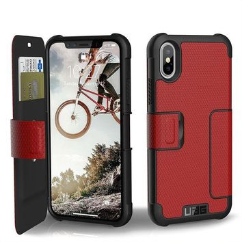 VONEIR6 UAG Folio iPhone X Metropolis Feather-Light Rugged [MAGMA] Military Drop Tested iPhone Case