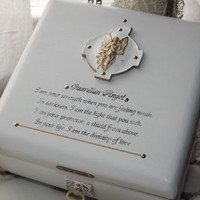 ANGEL. Lock box. White & Gold Guardian Angle wooden Lock and key Box. Can be Personalised. Keepsake Box. Trinket Box. Jewellery Box. Angels