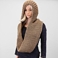 Hooded Scarf,  Women Accessories, Latest Scarves, Scarves Hooded, Brown Knit Hooded Body Scarf
