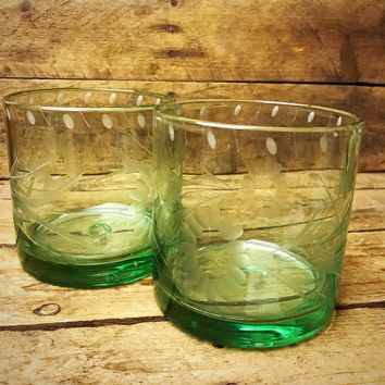Set of 2 Etched Recycled Glass Tumblers