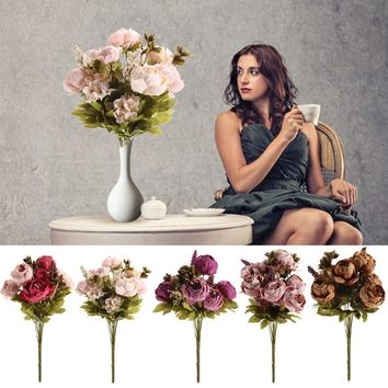 8 Heads DIY Wedding Artificial Flowers Decoration Vivid Flowers Festival Wedding Artificial Flowers Home Decoration Accessories