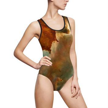 Women's One-Piece Swimsuit Classic Style Space Cloud Print