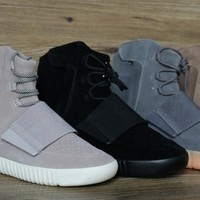 750 Boost Glow In The Dark Kanye West Leather Ankle Boots Men's Sport Running Shoes(With receipt laces dust bags boxes)