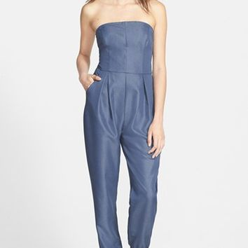 Junior Women's One Clothing Strapless Chambray Jumpsuit