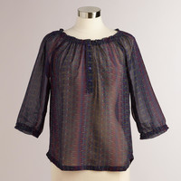 Ruched Purple Kira Peasant Blouse - World Market