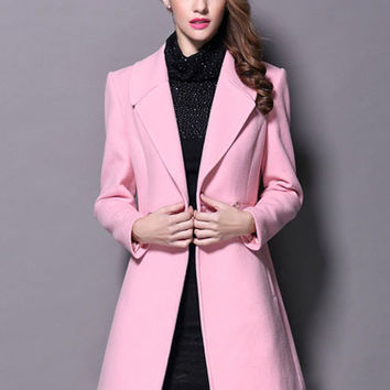 Pink Lapel Wool Thick Double-Breasted Coat
