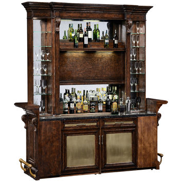 Linenfold Dark Oak Home Bar