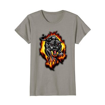PANTHER FIRE - big cat - tattoo art - fire - flames T-shirt