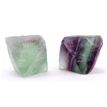 Fluorite Octahedron 02 - Pair Green Purple Cleave Minerals