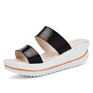 Leather Peep Toe Fish Mouth Slip On Platform Sandals Slippers
