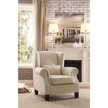 Fabric Upholstered Wing Back Accent Chair In Cream
