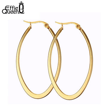 Effie Queen Fashion Gold Plated Titanium Steel Hoop Earrings for Women High Quality Women Jewelry DTE17