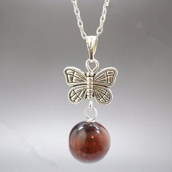 Tiger's Eye Necklace in Sterling Silver Tiger's Eye  Butterfly Necklace  Tiny Silver Yoga Necklace  Tiger's Eye Jewelry
