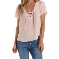 Pale Blush Lace-Up Tulip-Slit Top by Charlotte Russe