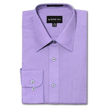 Men's Basic Solid Color Button Up Dress Shirt (Lilac)