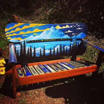 Night & Day Oil Painted mountain mural adirondack snowboard bench
