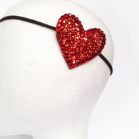 Red Heart headband GLITTER Valentine's day by JeSuisPrettyful