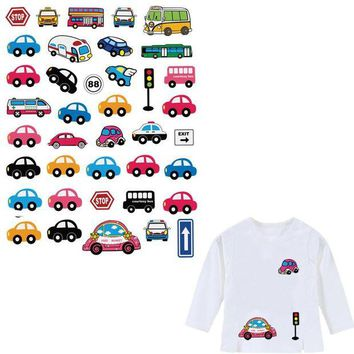 ac NOOW2 1 Piece Patch With Various Small Ironing Stickers Lovely Micro-Cars Iron On Patches For Clothing Heat Transfer Appliques