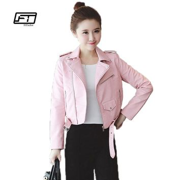 Winter Pink Blue Women Leather Jackets Soft Pu Faux Leather Coats Slim Short Design Turn Down Collar Motorcycle Outwear