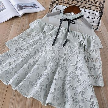 summer Baby Girl solid lace Dress Clothes Children Long Sleeve mesh clothing Kids cute princess Drawstring Dresses