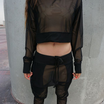 Black Mesh Cropped Sweatshirt