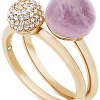 Michael Kors Gold-Tone 2-Pc. Set Crystal Fireball and Purple Stone Stack Rings - Jewelry & Watches - Macy's