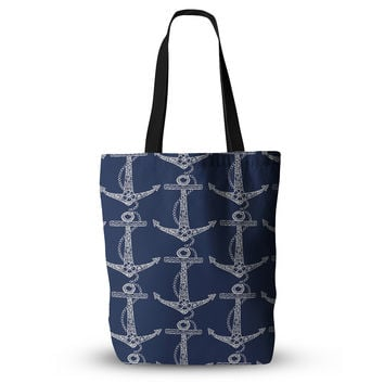 "Amy Reber ""Floral Anchors"" Blue Pattern Everything Tote Bag"