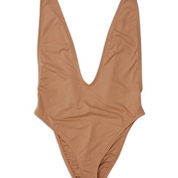 Cannes Deep V-Neck One Piece Swimsuit - Tan