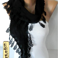 Black scarf ,women scarves - guipure -  fashion scarf - gift Ideas For Her Women's Scarves for her