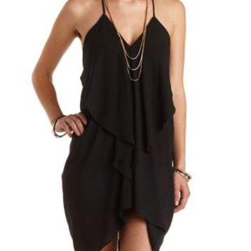 Draped & Caped Ruffle Trapeze Dress by Charlotte Russe - Black