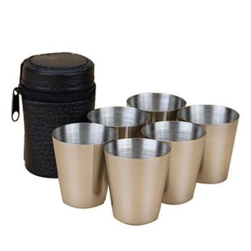 ICIK272 6 Pieces Stainless Steel Cups Wine Beer Whiskey Mugs Outdoor Travel Cup 30ml Cups Set New