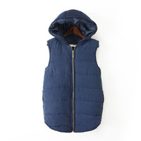 Hoodie Sleeveless Zippered Winter Coat