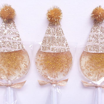 Gold Lollipops with Party Hats, Hard Candy Lollipops, Candy, Gold Party Favors, Gold Lollipops, Sweet Caroline Confections-SIX LOLLIPOPS