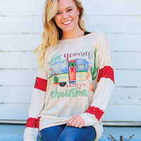 Have Yourself a Merry Little Christmas Cream Tunic with Red Lace Accent Sleeves