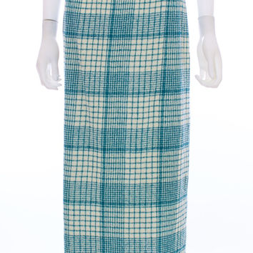 MISSONI For Neiman Marcus Teal and Winter White Wool Blend Midi Plaid Skirt Size 44 Euro 8 US
