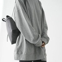Grey Loose Longline Sweatshirt - Choies.com