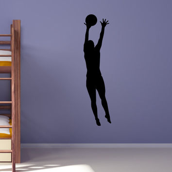 Volleyball Wall Sticker Decal - Female Defense Player Blocking Silhouette Decoration - #11