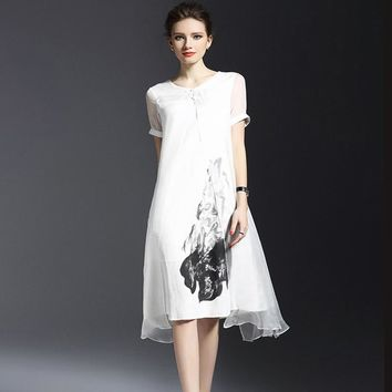 Summer Woman linen plus size Dress fashion Short Sleeve O Neck Fake two pieces Casual Dress Vintage style Loose Dress 9L145